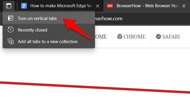 Turn on Vertical Tabs in Microsoft Edge from Tab action menu