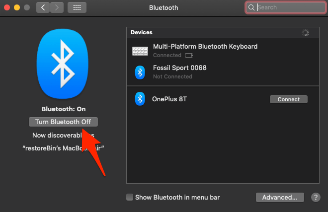 Turn Bluetooth Off in MacOS computer