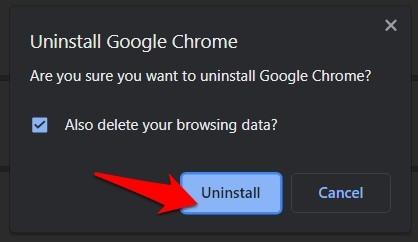 Uninstall Google Chrome button in Windows PC