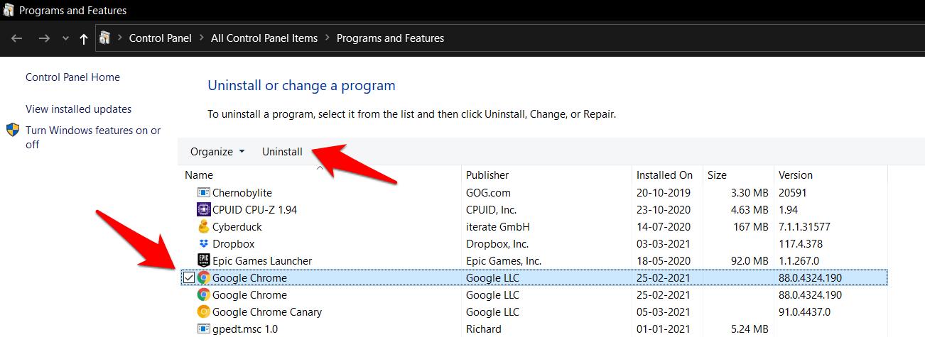 Uninstall Google Chrome from Windows OS Control Panel