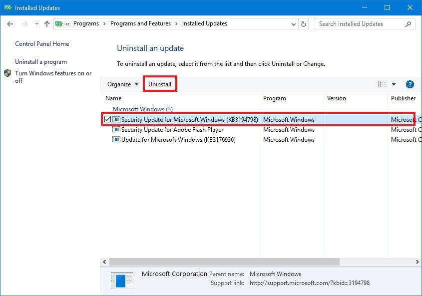 Uninstall Security Updates from Windows OS