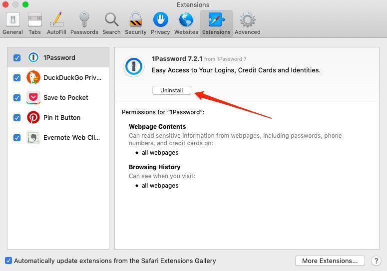 Uninstall the Safari Browser Extensions