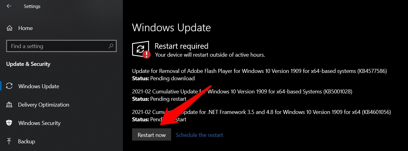 Update Windows OS to latest version and restart