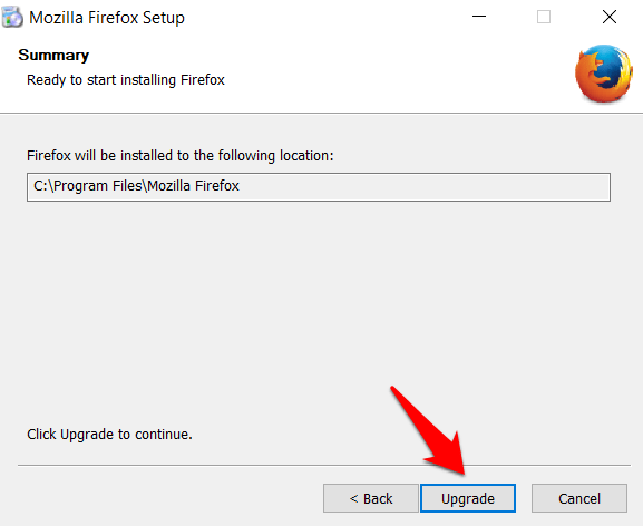 Upgrade Firefox existing version