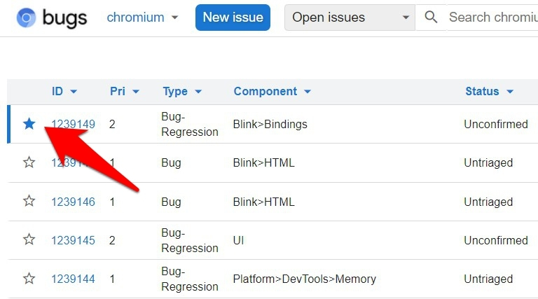 Upvote or Star an Existing Chromium Bug