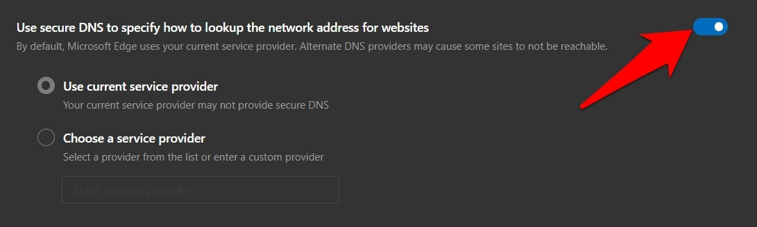 Use Secure DNS settings in Edge browser