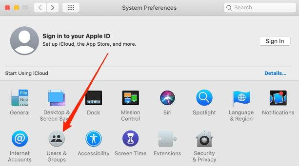 Users and Group tab menu in System Preferences Mac