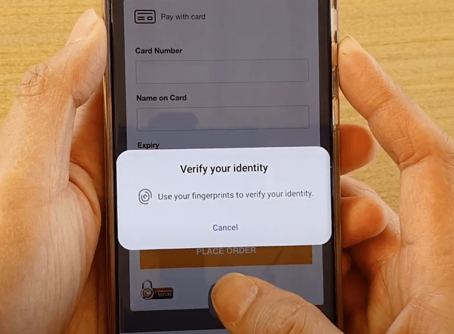 Verify your identity to use the saved credit card on samsung internet