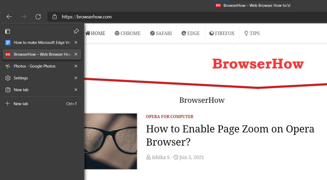Vertical Tabs expand on Mouse Hover in Edge Chromium