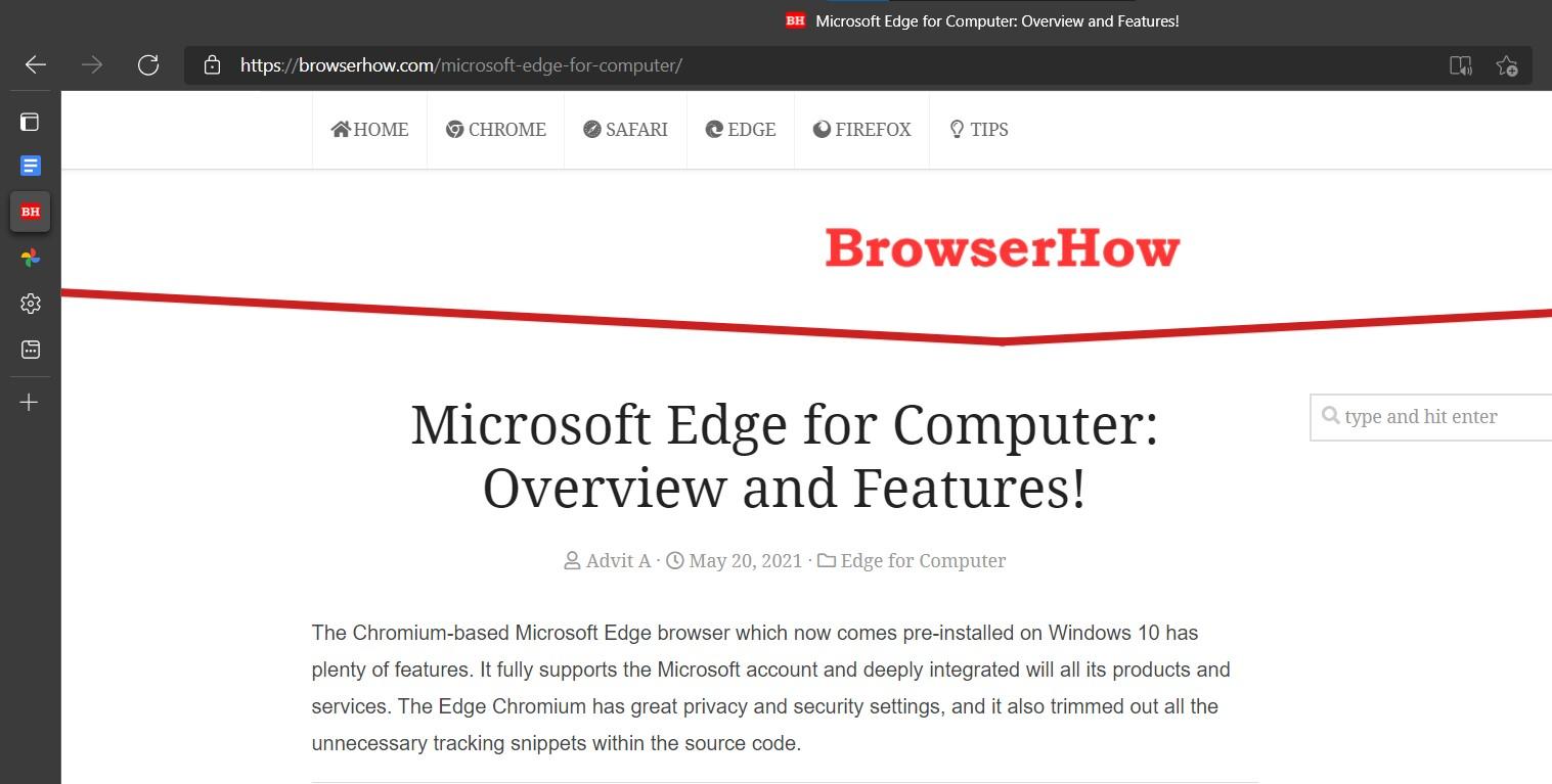Vertical Tabs in Microsoft Edge browser