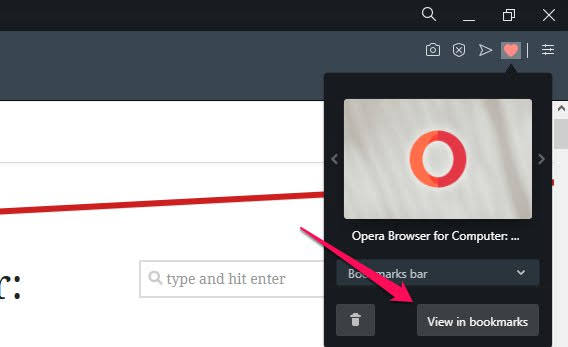 View in Bookmarks button on Opera Bookmark Pop-up