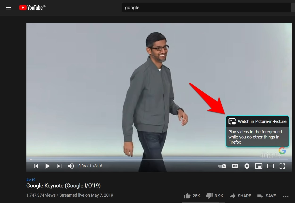 Watch YouTube video in Picture-in-Picture mode