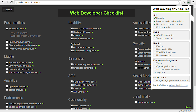Web Developer Checklist Extension