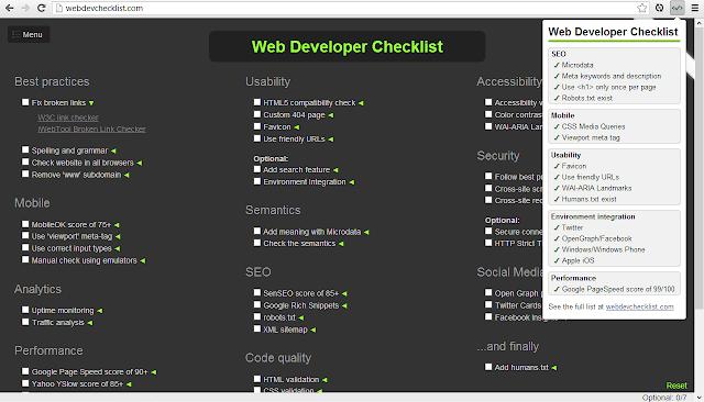 Web Developer Checklist Extension