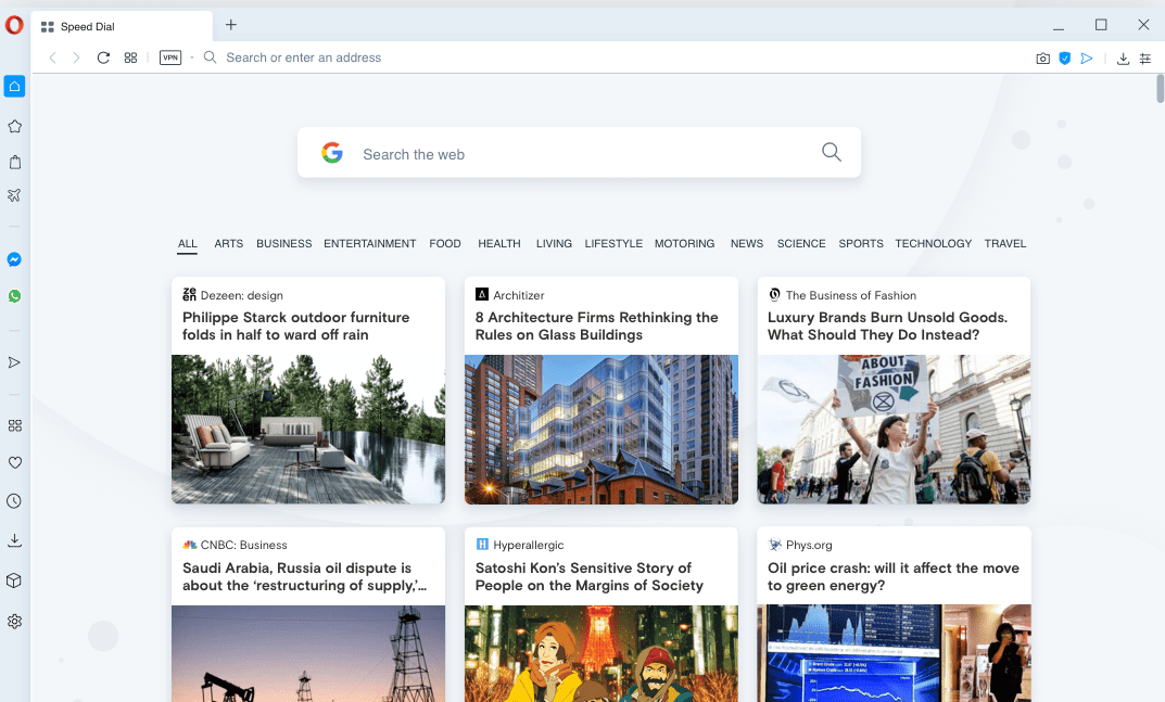Web Search and Personalization results in Opera Homepage screen