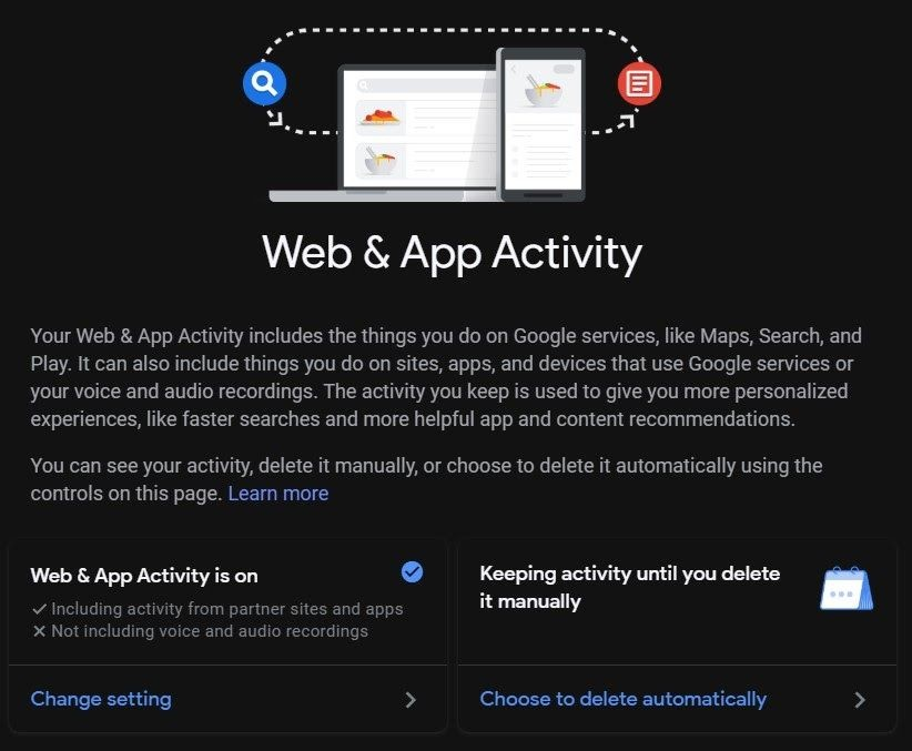 Web and App Activity Chrome Browser on Computer