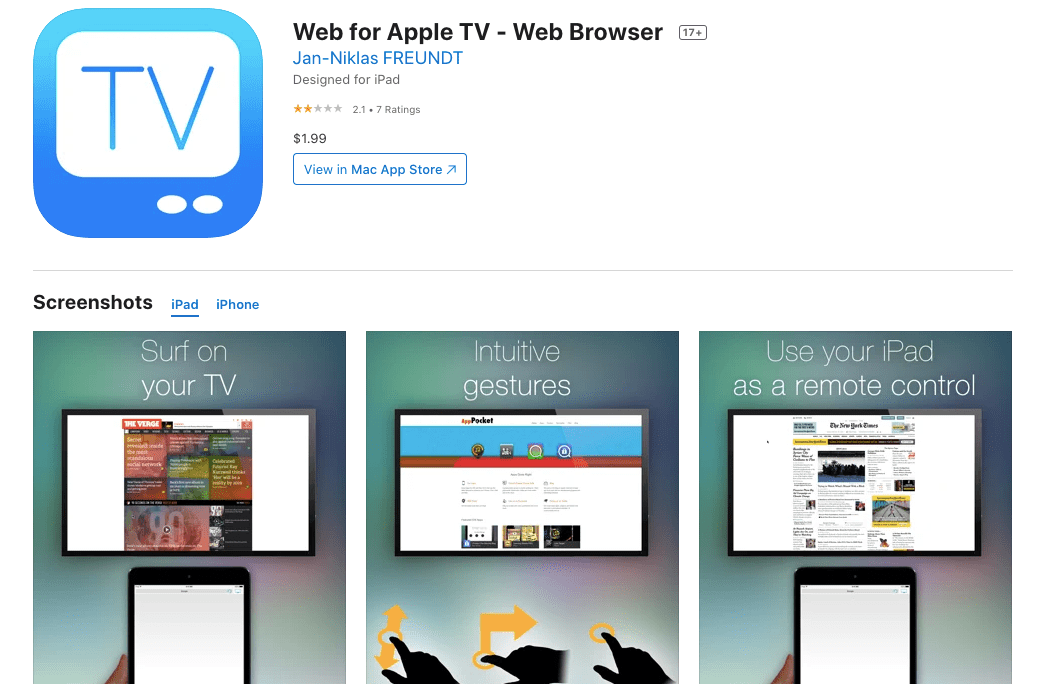 Web for Apple TV - Web Browser on the AppStore