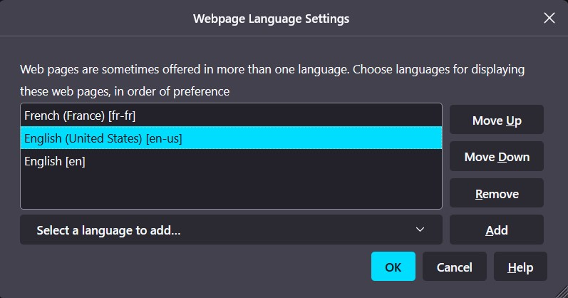 Webpage Language Settings in Mozilla Firefox browser