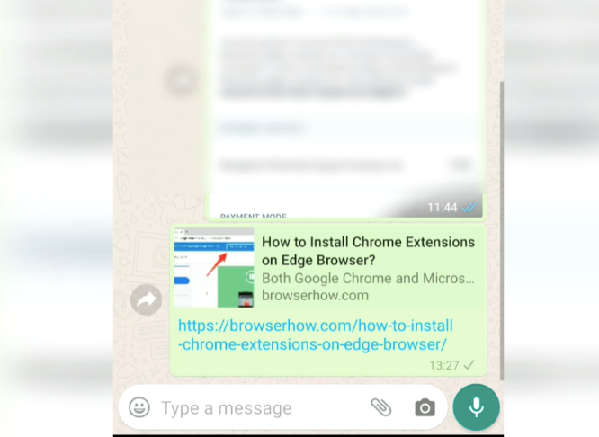 WhatsApp Share Link from Chrome Android