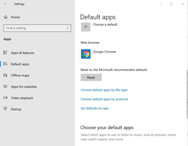 Windows 10 Default Apps settings window