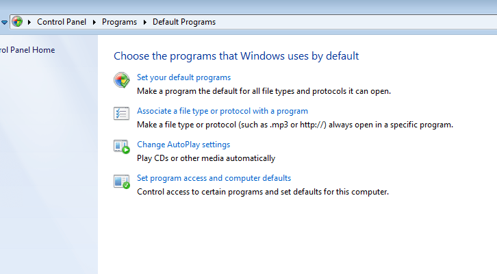 Windows 7 OS Default Programs settings window