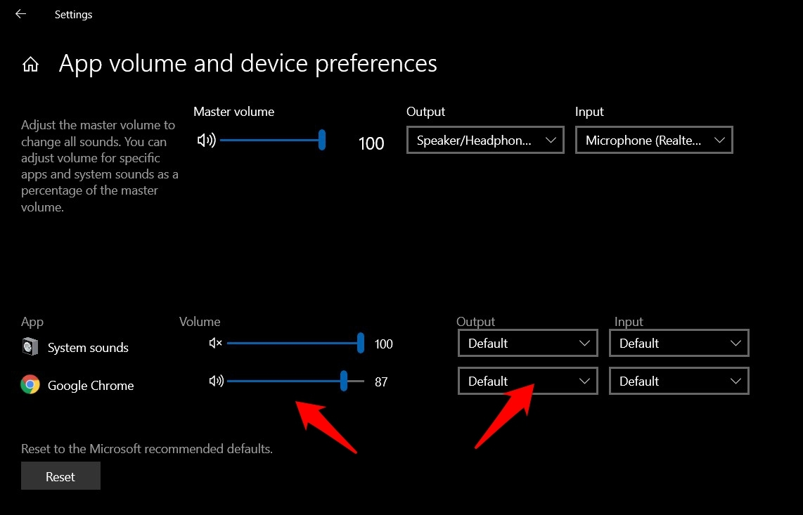Windows App Volume and Device Preferences