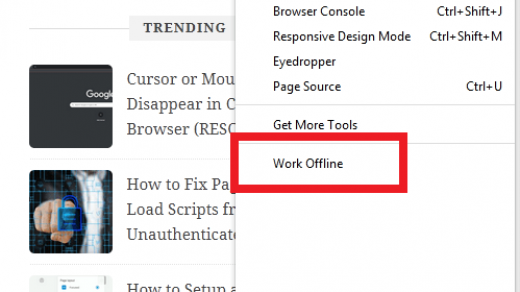 Work Offline Mode in Firefox Computer Browser