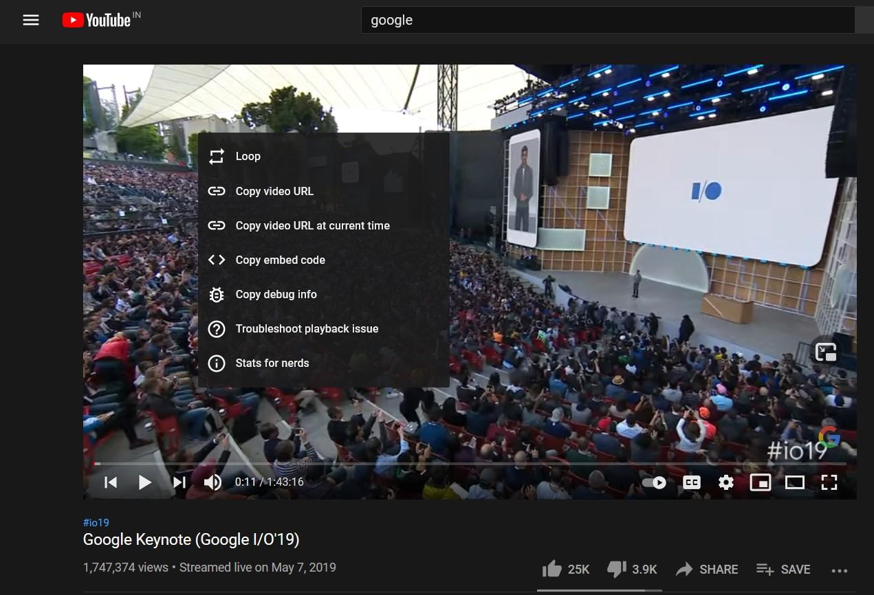 YouTube Video Default Context Menu