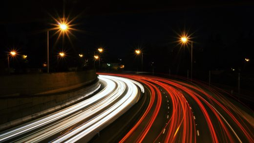 busy freeway speed lights