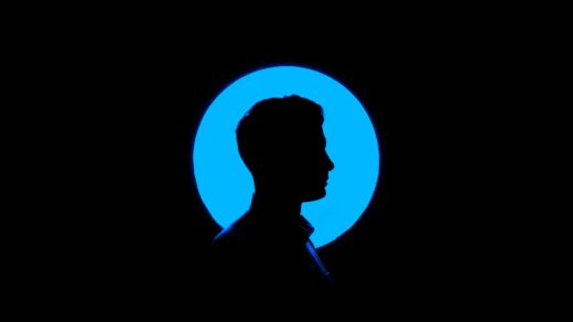 dark room profile face in blue background feat