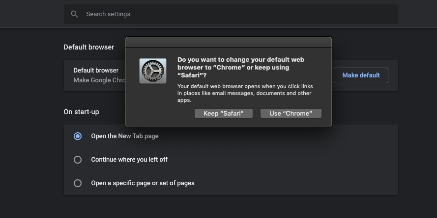do you want to change your default web browser to chrome