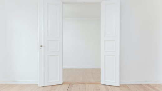 Door in a white room at home