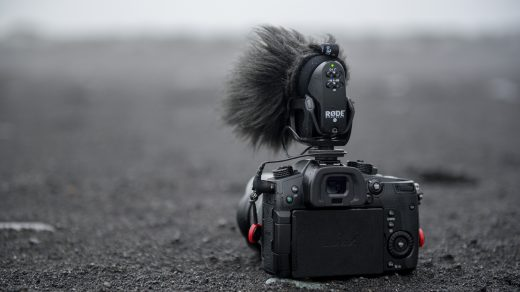 dslr camera with attached microphone
