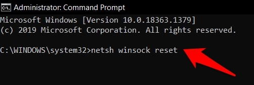 netsh winsock reset command in Windows OS