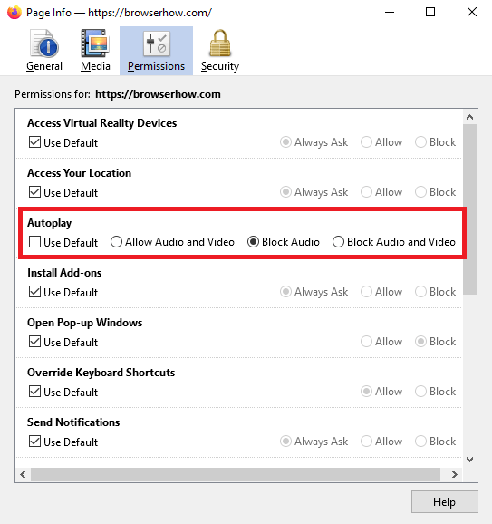 how to block sound access for single website in Firefox using page info window