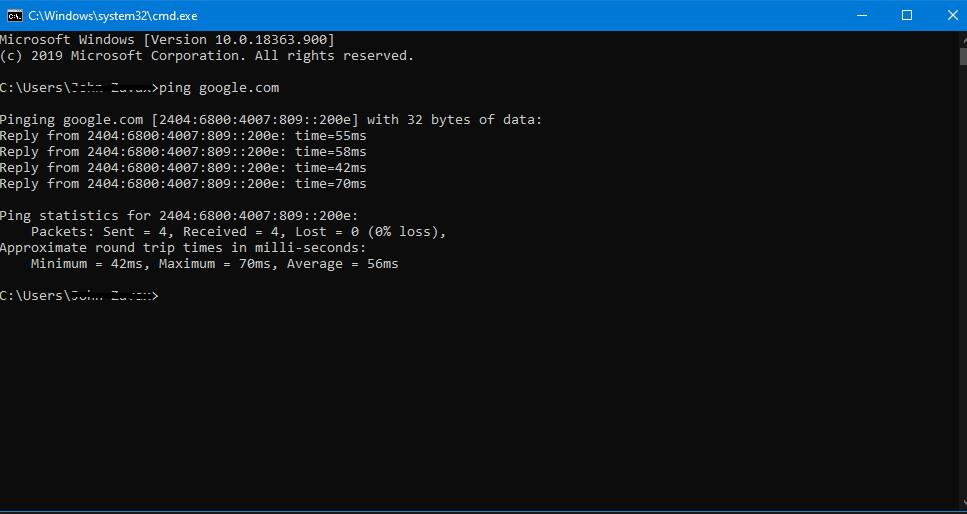 ping google.com with cmd prompt