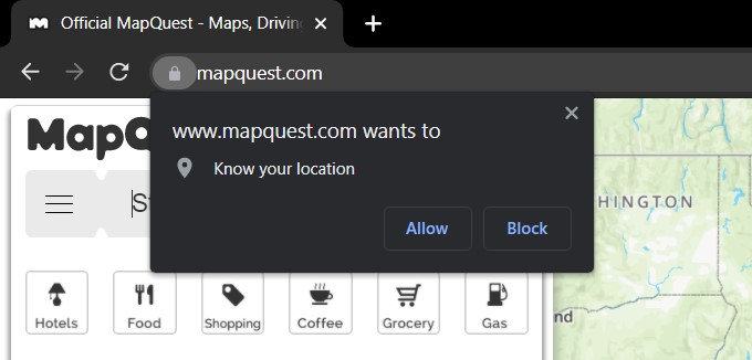 request pop-up to know your location in chrome computer
