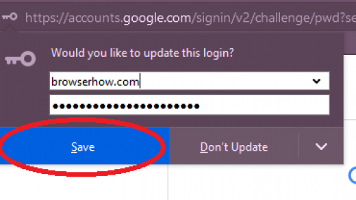 save username and password on Firefox browser