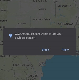 website want to use your location allow or block