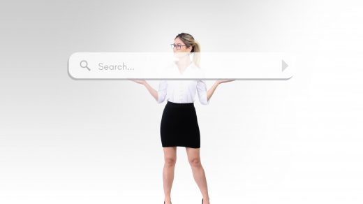 woman holding search bar